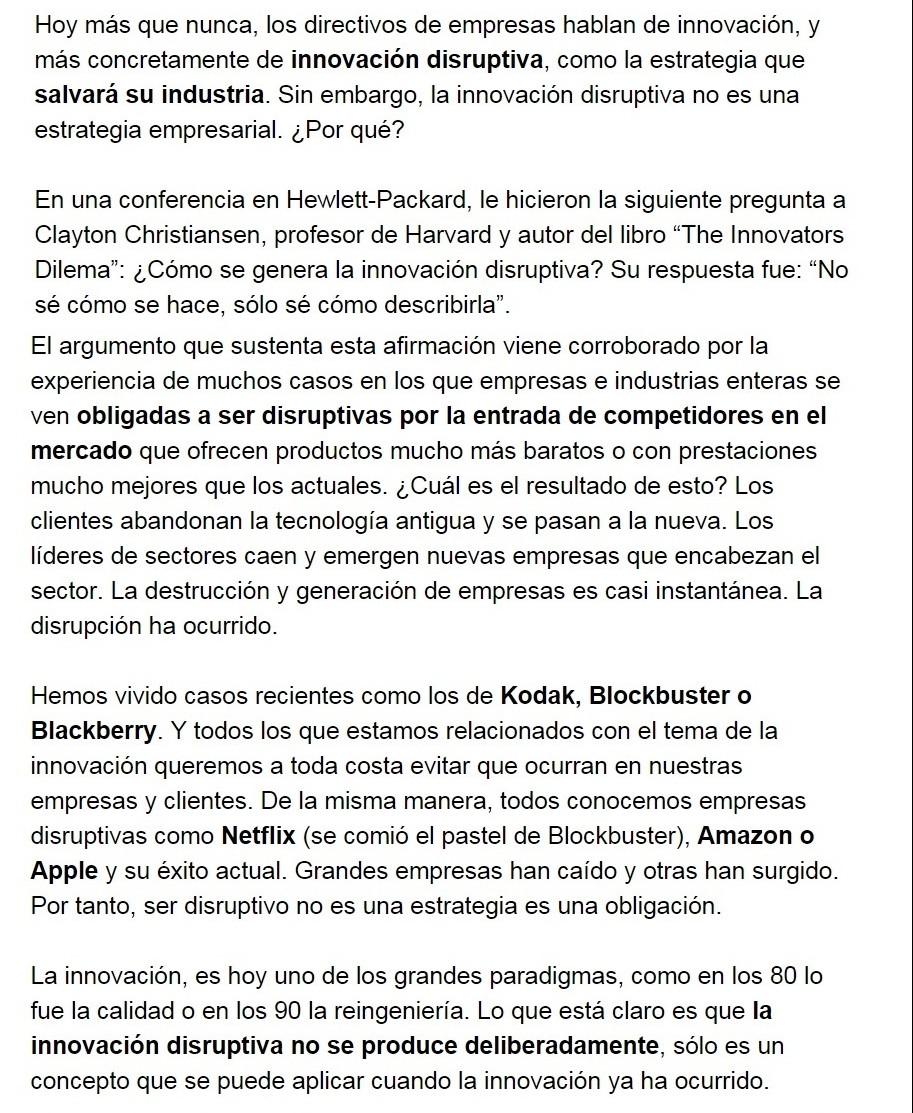 Innovación disruptiva en Diario de Navarra por Alfonso Prim blog innokabi parte a