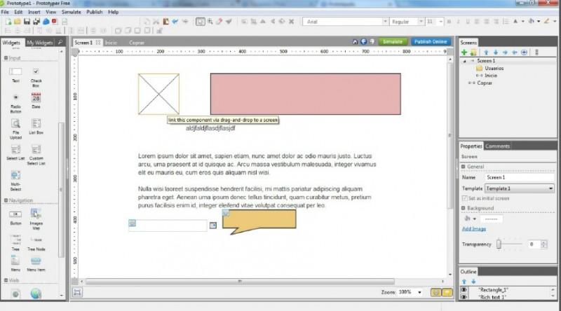 Prototipo de software en Prototyper free Innokabi