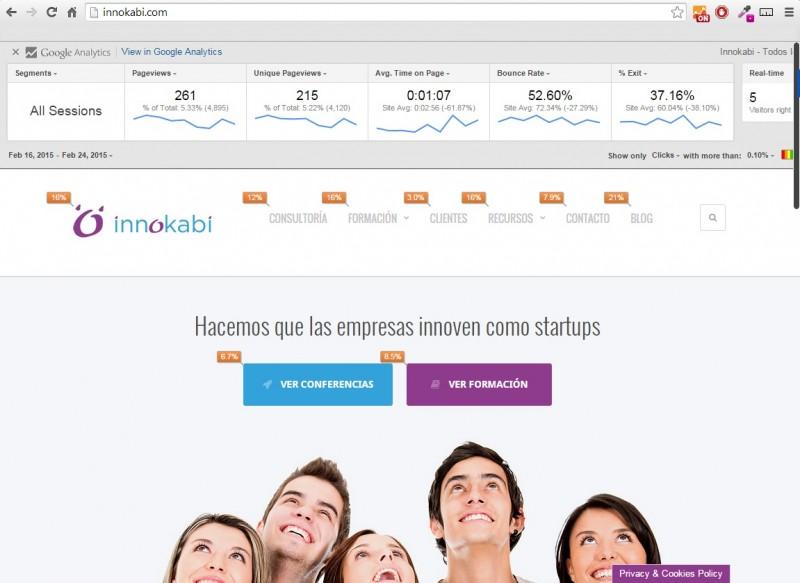 Como mejorar mi web con la extension de Chrome de Google Analytics Innokabi  ON