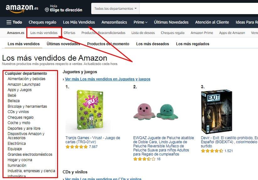 Más vendidos Amazon encontrar nichos de negocio Innokabi