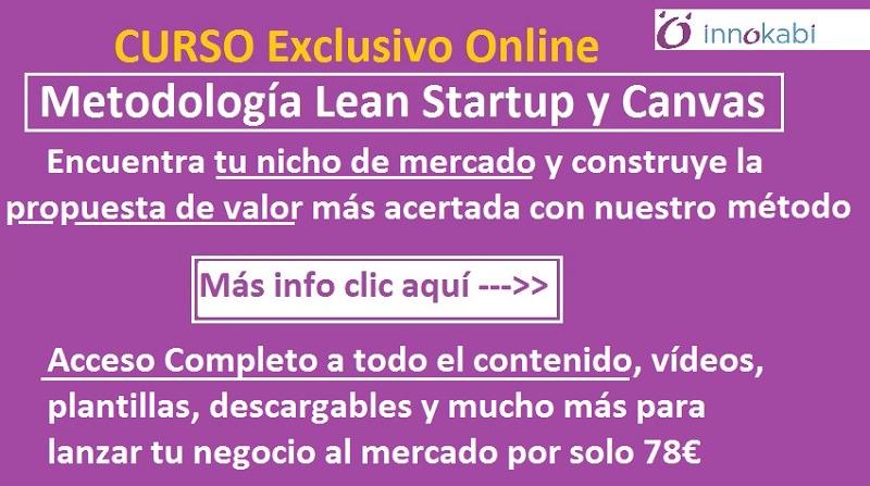 Banner curso online Lean Startup propuesta valor y nicho mercado