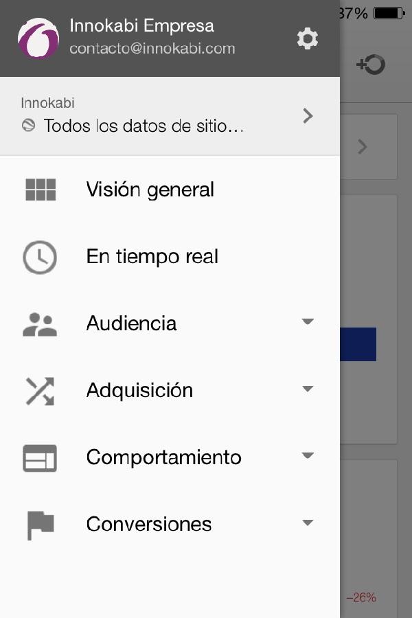 Octavo menu como funciona la app de google analytics para el movil Innokabi