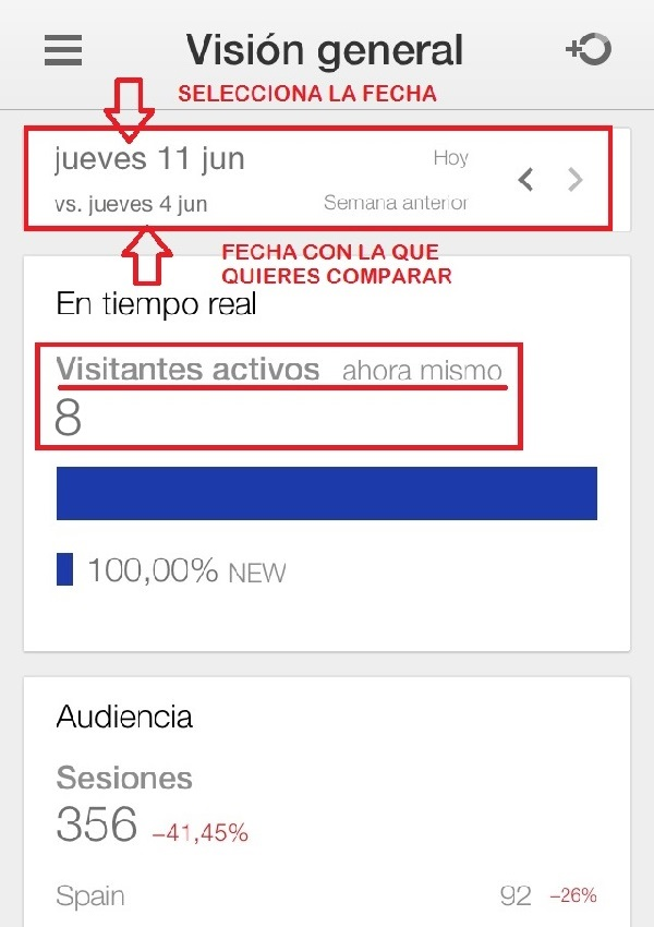 Primera pantalla app google analytics movil
