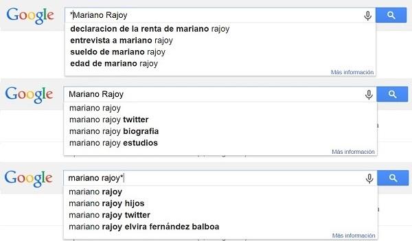 Ejemplo de Google Autocomplete para Mariano Rajoy TOTAL