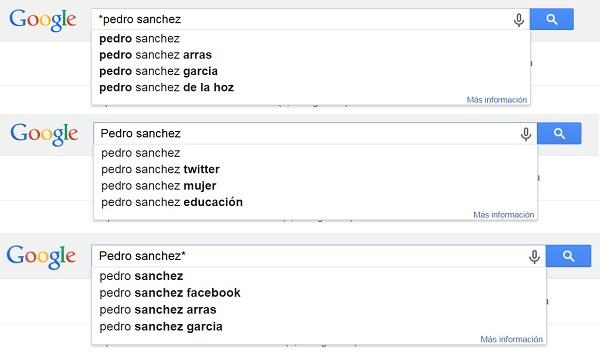 Ejemplo de Google Autocomplete para Pedro Sanchez TOTAL