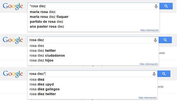 Ejemplo de Google Autocomplete para Rosa Diez TOTAL