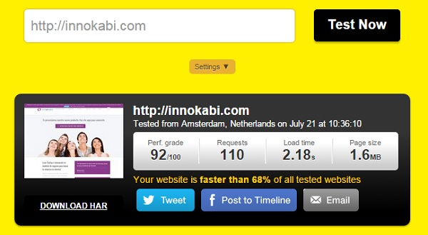 test de velocidad innokabi bajar el porcentaje de rebote en analytics tools pingdom