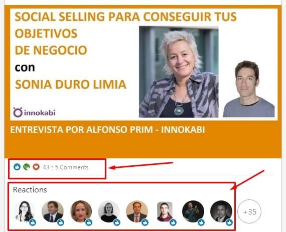 Reacciones post Linkedin Alfonso Prim