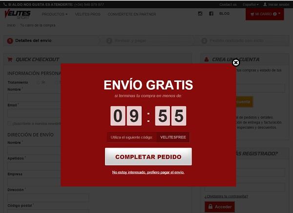 Popup Velitessport para evitar perder visitas y convertir usuarios en clientes de tu web Innokabi
