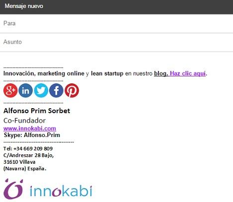 Como crear tu firma de correo electronico profesional tutorial innokabi Alfonso Prim