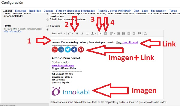 Configurar firma de email en Gmail tutorial innokabi paso 2 3 y 4
