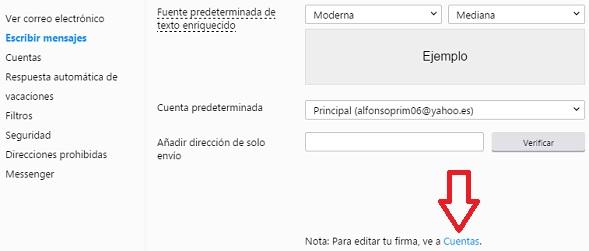 Configurar firma de correo electronico en Yahoo tutorial innokabi paso 2