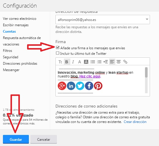 Configurar firma de correo electronico en Yahoo tutorial innokabi paso 3