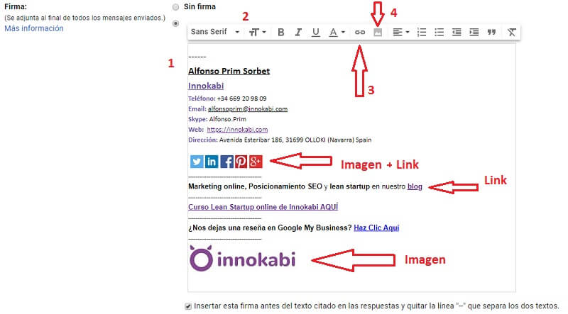 Crear firma correo Innokabi gmail