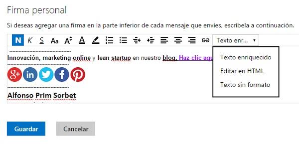 Crear firma de email en Outlook Microsoft tutorial innokabi paso 2