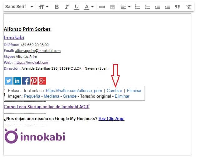 Incluir link RRSS firma correo Innokabi gmail