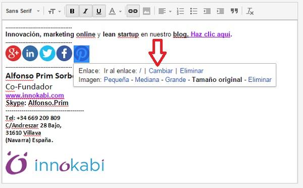 Incluir redes sociales en la firma de correo electronico en Gmail tutorial innokabi