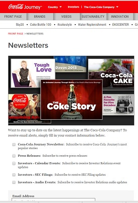 Ejemplo newsletter Coca Cola