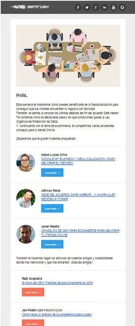 ejemplos de newsletter Semrush