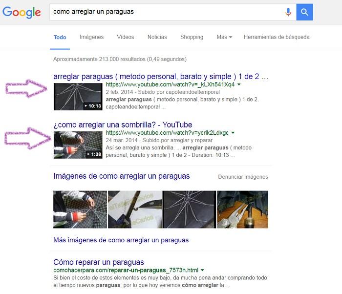 SEO en Youtube resultados de busqueda organica google