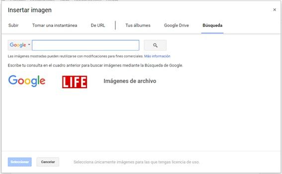 Google Docs busqueda imagenes