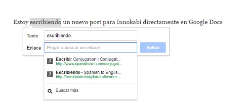 Google Docs insertar link texto generico