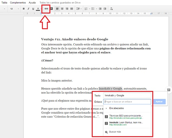 Google Docs insertar link texto
