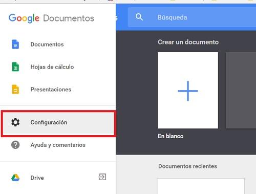 Google Docs menu configuracion