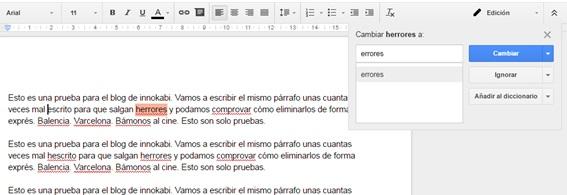 Google Docs revision ortografia