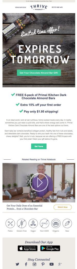 Ejemplo de Email Marketing de Thrive Market