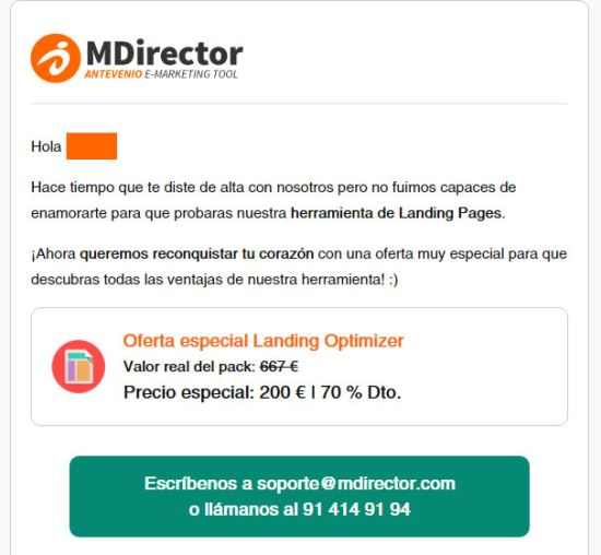 Ejemplo de Email Marketing de MDirector