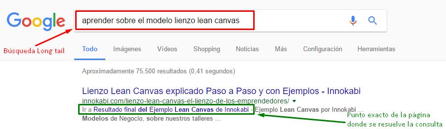 Las búsquedas con palabras clave long tail ya empiezan a dar resultados exactos