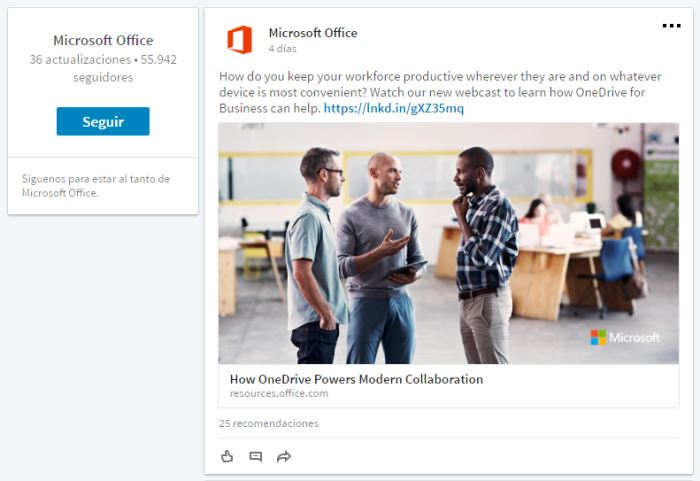 Pagina de producto de Microsoft Office en LinkedIn