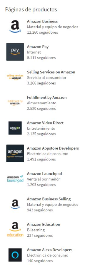 Páginas de producto que ofrece Amazon en LinkedIn