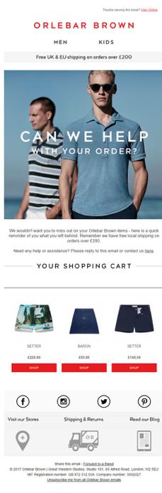 ejemplo email generoso carrito tienda online