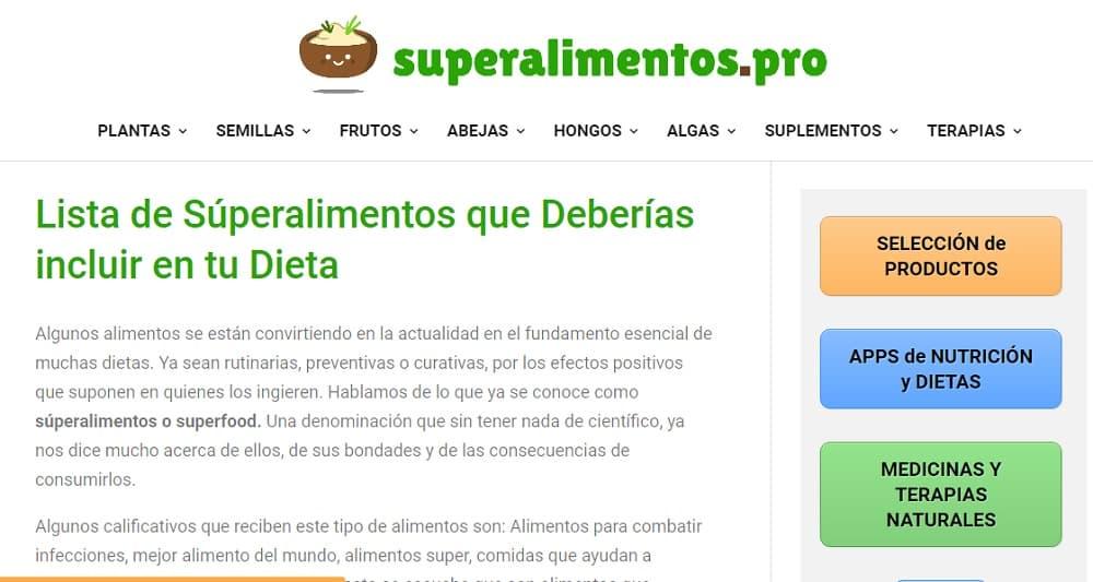 Ejemplo web afiliación superalimentos Pro