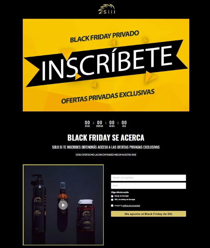 Ejemplo fidelización Black friday privado SIIL