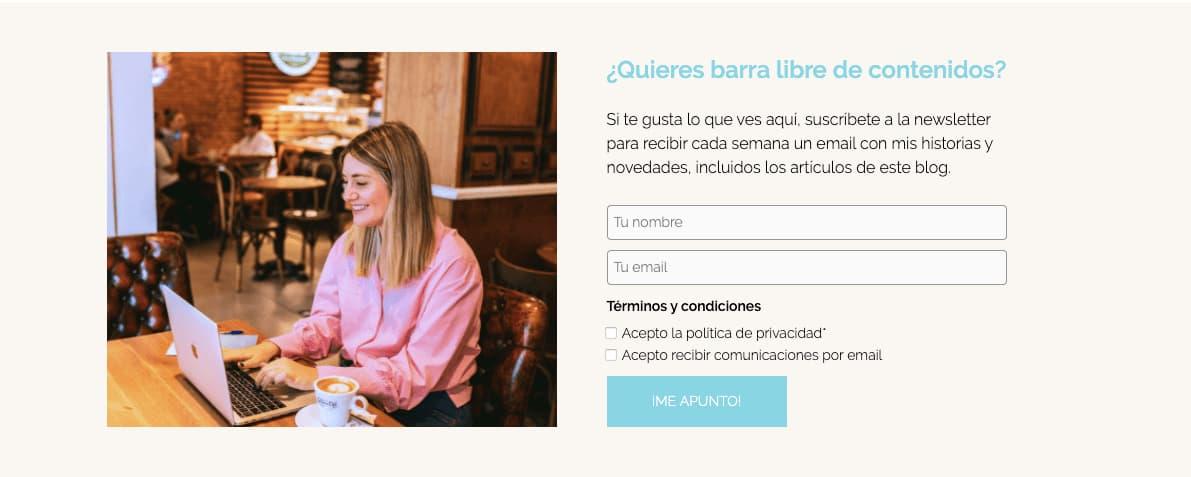 Formulario Newsletter Monica Romero